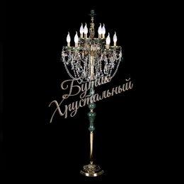 Торшер 10 свечей Бронза Малахит