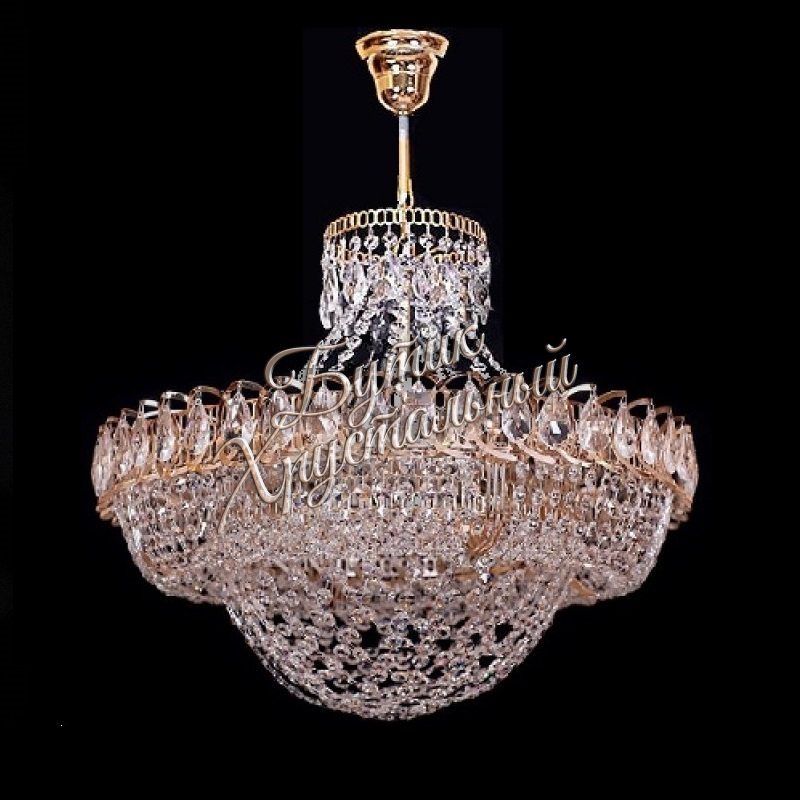 Хрустальная подвесная люстра Кольцо Сетка 6- 8 ламп с подвесом