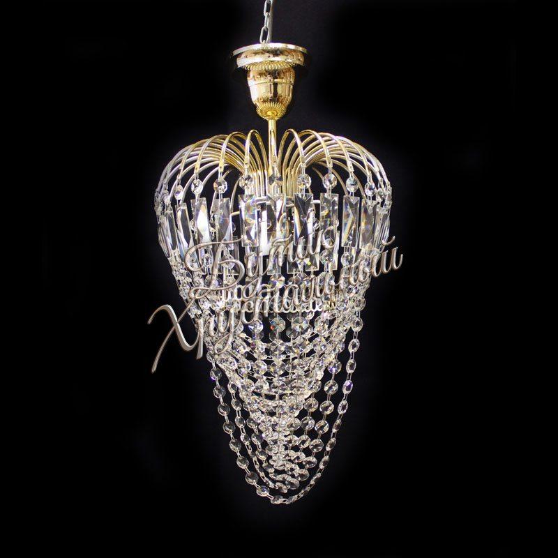Хрустальная подвесная люстра Малинка Водоворот 1 лампа