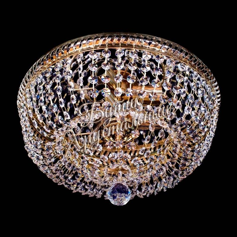 Хрустальная потолочная люстра «Кольцо Д-400мм Золото»