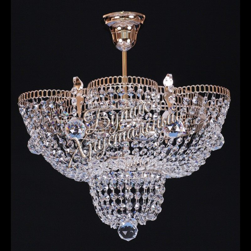 Хрустальная подвесная люстра Тюльпан 1-3 -5 ламп с подвесом