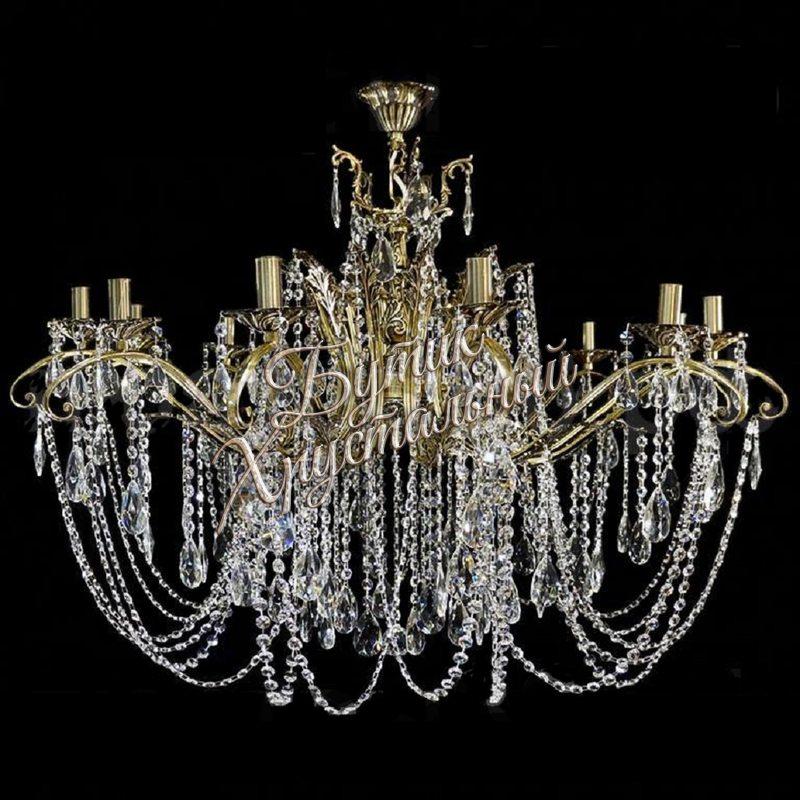 Бронзовая Хрустальная люстра «Бронза 12 ламп Баден»