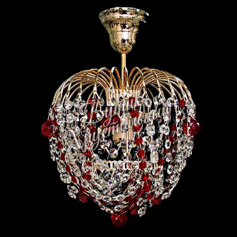 Хрустальная подвесная люстра Малинка Шар 1 лампа