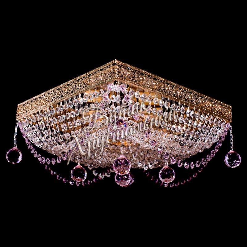 Потолочная хрустальная люстра Квадрат №9 Розовый